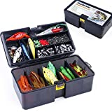 PLUSINNO Fishing Lures Baits Tackle Including Crankbaits, Spinnerbaits, Plastic Worms, Jigs, Topwater Lures, Tackle Box and More Fishing Gear Lures Kit Set, 210Pcs Fishing Lure Tackle…