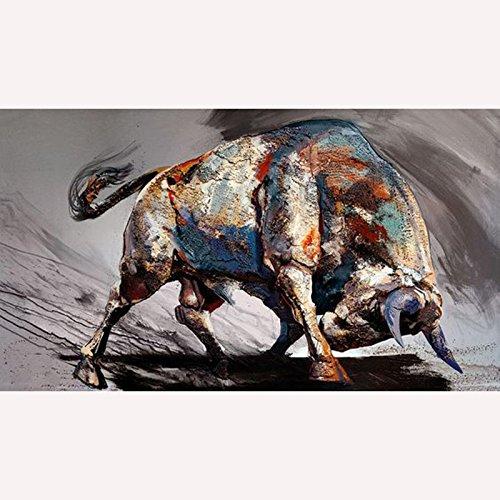 Peinture à l'huile sur toile peinte à la main Style moderne Corrida abstraite Décoration murale Maison Salon, Toile, Bull a, 24x48inch(60x120cm)