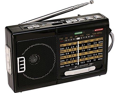 QFX R-39 Am/FM/Sw Radio de 10 Bandas con Linterna y Reproductor USB/TF