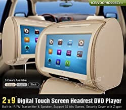 XTRONS Beige 2 X 9 Twin Car Headrest DVD Player Pillow HD Touch Screen Monitor MP3 Game Disc IR Headphones