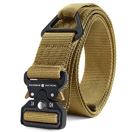 Fairwin Tactical Rigger Belt, Military Style 1.5 Inch Utility Nylon Webbing Belt with V-Ring Heavy-Duty Quick-Release Buckle Mens Belt for Cargo Pants Jeans