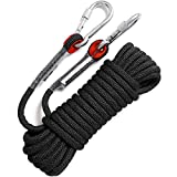 GINEE Outdoor 10mm Static Black Rock Climbing Rope 35FT with Carabiner,Arborist Tree Climbing Gear with Safety Ropes,Rescue Grappling Lifeline Escape Descender Abseiling Rope, Magnet Fishing Rope