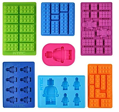 Silicone Moulds in Brick Shapes, Set of 7, Ideal for Chocolate, Fondant, Ice Cubes, Sweets, Soap & Candle Making
