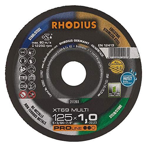 RHODIUS extra dünne Trennscheibe Metall Stein Kunststoff XT69 MULTI Box Made in Germany Ø 125 mm Allroundtrennscheibe INOX 10 Stück