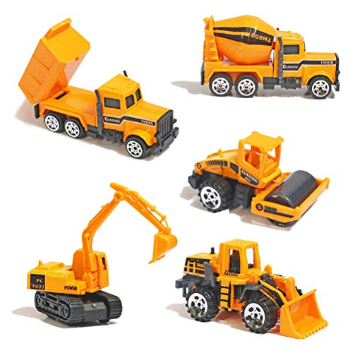 YIMORE Alloy Construction Engineering Truck Models Mini Pocket Size Play Vehicles Cars Toy Cake Toppers for Kids Toddlers Boys (5Pcs Set)