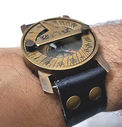 Maritime Steampunk Sonnenuhr Messing Kompass Armbanduhr Antik Navigation Leder Armband Schwarz