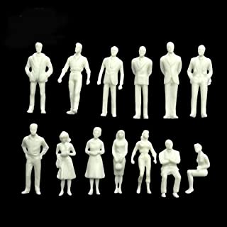 Gdaya 100PCs Unpainted Tiny People Figures, 1:50 Scale Model Trains Architectural O Scale Sitting and Standing Miniatures Figures
