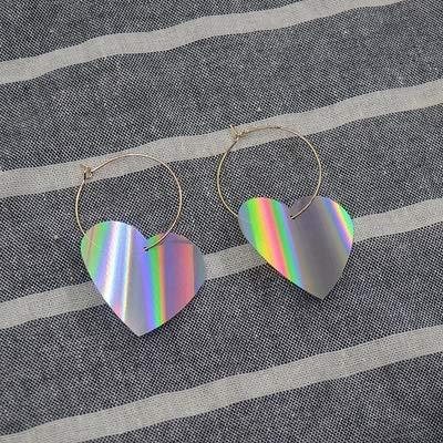 Xingguang, orecchini vintage a cerchio in lega di colore argento con glitter a forma di cuore, per donne e ragazze, alla moda, con paillettes, alla moda, colore metallo: 1 paio