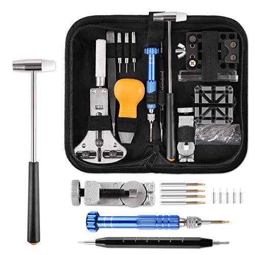 Yissvic Uhrenwerkzeug Set 183-teilig Uhren Reparatur Set Profi Uhrmacherwerkzeug Uhr Reparatur Werkzeug mit Nylontasche