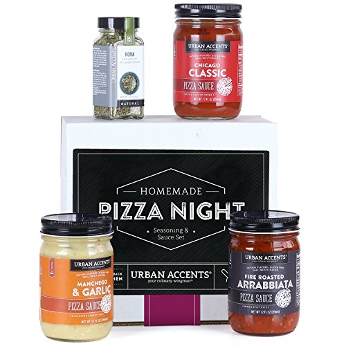 Urban Accents HOMEMADE PIZZA NIGHT, Pizza Sauce and Seasoning Set (Set of 4) - 3 Sauces and 1 Pizza Seasoning. Perfect for Weddings, Housewarmings or Any Occasion.