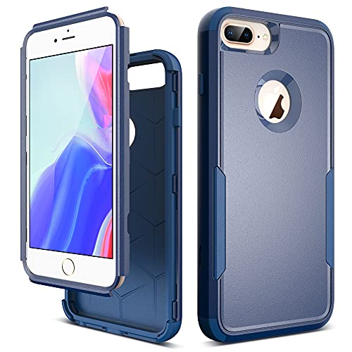 ULAK Compatible with iPhone 8 Plus & iPhone 7 Plus & iPhone 6 Plus Case, Heavy Duty 3 in 1 Shockproof Protective Phone Cover Anti-Scratch Drop Protection Bumper Case for Men Women Girls, Navy Blue