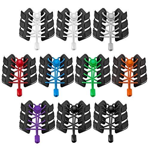 falllea 10 Pares de Cordones Elásticos para Zapatillas Cordones de Zapatos Sin Atar Cordones de Bloqueo para Zapatillas de Deporte Reflectante Cordones de Zapatos para Niños Adulto Ancianos