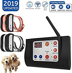 OCACA Updated Dog Fence Wireless & Training Collar Outdoor 2 in 1, Electric Wireless Fence for Dogs, Remote, Adjustable Range Control, Waterproof Reflective Stripe Collar, Harmless for Dog - 1 Collar