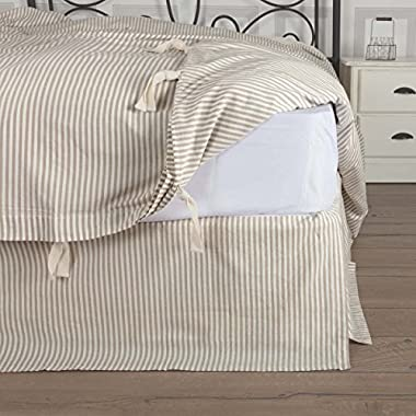 Piper Classics Farmhouse Ticking Taupe Queen Bed Skirt, 60x80 w/16 Drop, Tailored Dust Ruffle