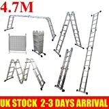14 in 1 Folding Loft Ladder, Scaffold Platform Ladder, Multi-Purpose Aluminium Ladder Foldable Holds up to 150 kg EN 131 Standard