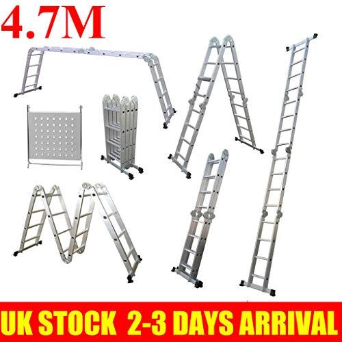 Escalera plegable 14 en 1, escalera de plataforma andamio, escalera multiusos de aluminio con capacidad para hasta 150 kg EN 131 estándar