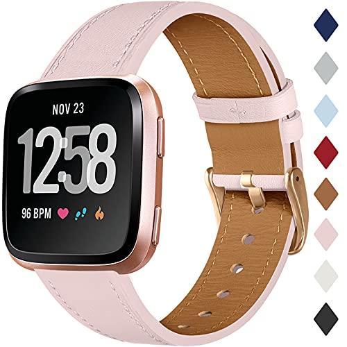 CeMiKa Leder Armband Kompatibel mit Fitbit Versa Armband/Fitbit Versa 2 Armband, Klassische Ersatz Lederarmband Kompatibel mit Fitbit Versa/Versa 2/Versa Lite/SE, Rosa Sand/Roségold