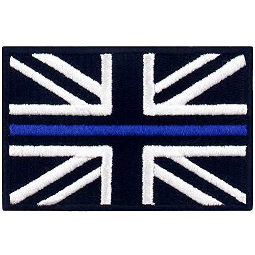 Linea Azul fina Bandera de Gran Bretaña del Reino Unido Parche Bordado de Aplicación con Plancha