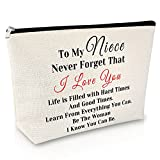 Niece Gifts from Auntie Makeup Bag Funny Birthday Gifts for Niece Cosmetic Bag For Teens Friend Sister Graduation for Her Travel Makeup Pouch Christmas Gift