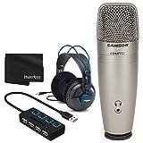 Samson C01U PRO - Micrófono de condensador de estudio USB + auriculares profesionales + concentrador USB 2.0 de 4 puertos con interruptores de alimentación LED individuales - Gran paquete de micrófono
