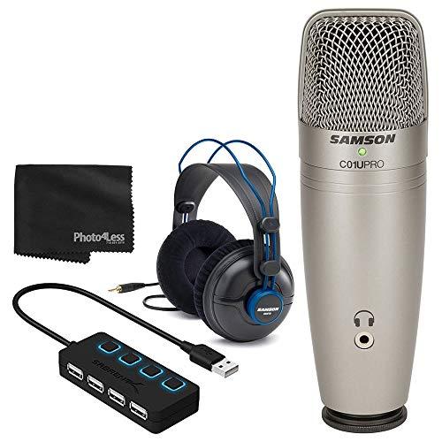 Samson C01U PRO USB Studio Condenser Microphone + Professional Studio Headphones + 4 Port USB 2.0 Hub with Individual LED Lit Power Switches - Great Microphone Bundle