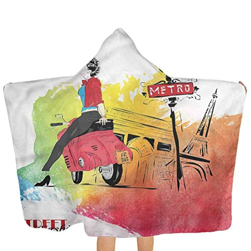 ZHSL Toalla con capucha para niños Niñas, baño de moda de Tower Street/playa/natación/bata de baño extra larga gruesa y excepcionalmente grande 51.5x31.8 pulgadas