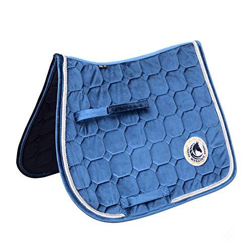 Merauno® Schabracke Velvet Dressur Schabracke Springen Satteldecke Schnelltrocknende Baumwolle Hochwertiges klassisches Design(VSS: M-54 * 57cm(L*B), Marine)