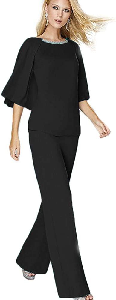 HYC Mother of The Bride Dresses Half Sleeves Pants Suit Chiffon Wedding Guest Gowns Plus Size Evening Wear