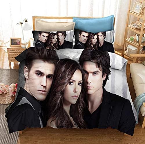 QWAS Il set di biancheria da letto Vampire Diaries morbido e soffice, senza imbottitura, senza piumino, 1 copripiumino e 2 federe, set da 3 pezzi (1,200 x 200 cm + 50 x 75 cm x 2)