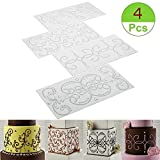 (Set of 4) Cake Fondant Stencil Template - Scroll Vine Lace Texture Embossed Impression Mat Cake Baking Stencil for Cupcake Wedding Cake Decoration