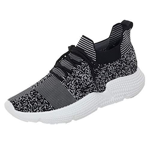 WOZOW Femmes Mailles Fitness en Plein Air Running Sport Sneakers Chaussures Garçon Fille Chaussure De Course Outdoor Basket Walking Shoes Compétition Entraînement(Gris,41)