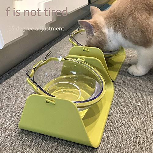 ZKBD-XTQ 15° kantelhoek kat kom kat pot bescherming cervicale schuine kat pot hond schuine kat voedsel kom schuine mond (verkopen enkele kom), Groen