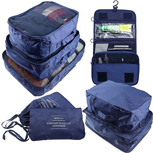 Arxus 8 Set Travel Organizer per imballaggio impermeabile Cubi con borsa per scarpe e borsa da toilette (Blue Marine)