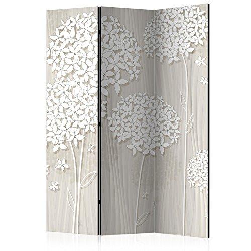 murando Raumteiler Foto Paravent Blumen 135x172 cm einseitig auf Vlies-Leinwand Bedruckt Trennwand Spanische Wand Sichtschutz Raumtrenner Home Office beige weiß b-B-0278-z-b