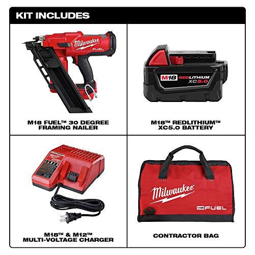 Milwaukee 2745-21 M18 FUEL 30-Degree Cordless Framing Nailer Kit (5 Ah)