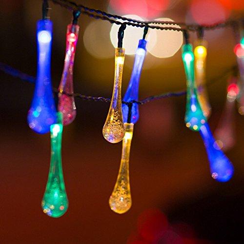 H&D Youngsun 30er LED Solar Lichterkette Wassertopfen Regentropfen 6,35 Meter Außen Innen Outdoor Garten Party Fest Deko Weihnachten Hochzeit Beleuchtung solarbetrieben bunt
