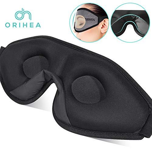 OriHea 3D Schlafmaske Damen und Herren,Premium Schlafbrille mit Innovativem verstecktem Nasenflügel-Design, Blockiert Licht 100{3f1e9e398ff94ebc4fbe41b466f508ac9cfd2dfd2267a688cb2ef4084d02318e} Augenmaske, verstellbare Premium Seiden Schaum Augenbinde