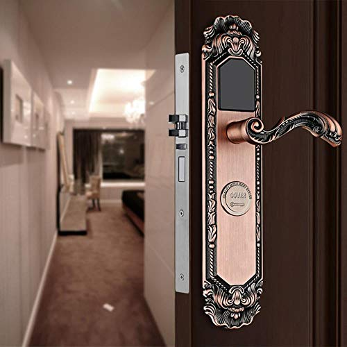 Drückergarnitur Garnitur european Retro Style Hotel Smart Door Kartenschloss Apartment Elektronische Villa Schloss Magnetic Ic Card   Hardware Locks, Bronze