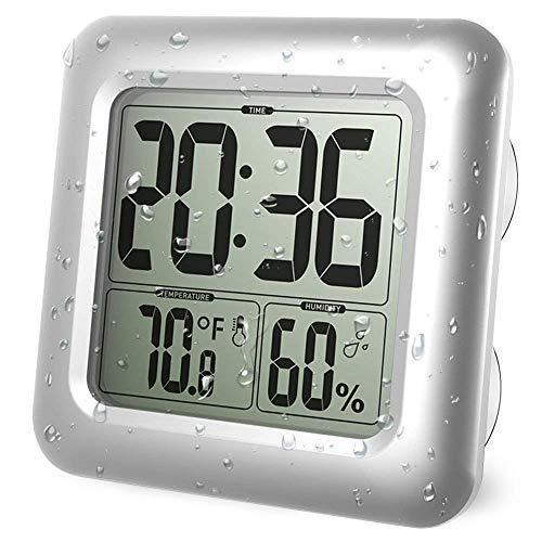 Junnom Digitale Badezimmer-Duschuhr, große wasserdichte Wanduhr, Thermometer & Hygrometer, Temperatur- und Luftfeuchtigkeitsmesser mit 4 Saugnäpfen und Halterungen