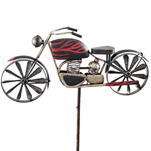Windspiel Metall Motorrad Metallwindrad Motorcycle FLAME Garten Dekoration rot schwarz