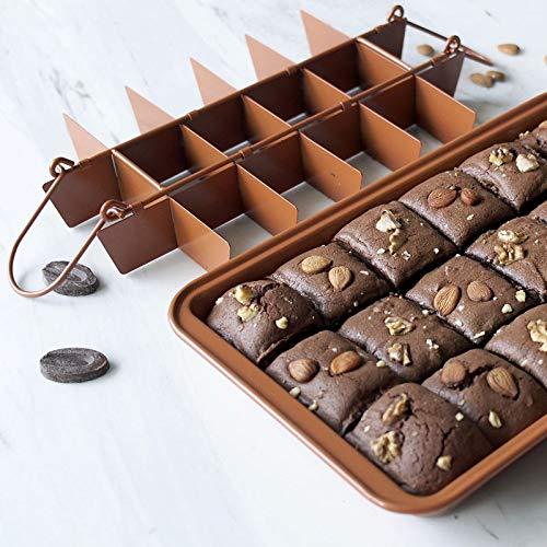 RAIN QUEEN Brownie - Molde para tartas con separadores de acero al carbono (dorado)