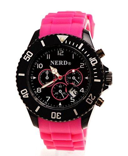 Originale Nerd® Armbanduhr in Pink/Schwarz