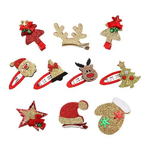 Lurrose 10pcs Weihnachten Hair Snap Clips Glitter Haarspangen für Mädchen (zufällige Muster)