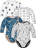 Sibinulo Jungen Mädchen Body Langarm 4er Pack Graue Elefanten Marineblau trägt auf den Blättern Schwarze Elefanten Sterne 80(9-12 Monate)