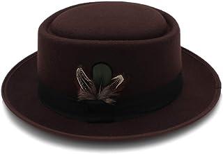 LaVintageエレガントウィンターウールフェドラ ウールフェルトブラックポークパイハットポークパイジャズフェドラハットラウンドトップトリルビースティンビーブリムフェザーキャップ 女性の女の子の夏の麦わら帽子 (色 : コーヒー, サイズ : 56-58CM)