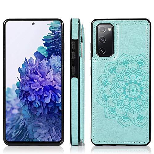 MAXJCN Funda para Samsung Galaxy S20 FE, funda tipo cartera con soporte para tarjetas, piel sintética con función atril y cierre magnético, resistente a los golpes, color verde