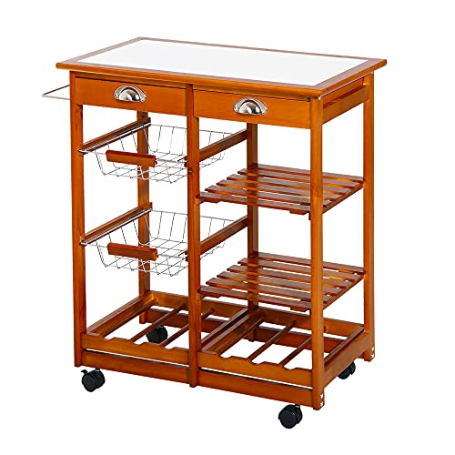 HOMCOM Wooden Rolling Kitchen Cart Tile Counter Top Utility Trolley with Towel...