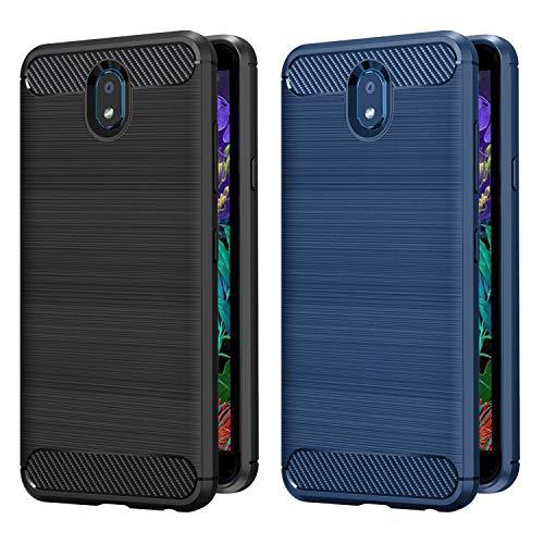 VGUARD 2 Unidades Funda para LG K30 2019, Diseño de Fibra de Carbon Ultra Fina TPU Silicona Carcasa Fundas Protectora con Shock- Absorción para LG K30 2019 (Negro+Azul)