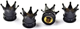 4 Pcs Automobiles & Motorcycles Accessories Wheels Air Tires & Parts Fashion Crown Wheels Valve Stems Caps for Car Truck SUV (4pcs Black)