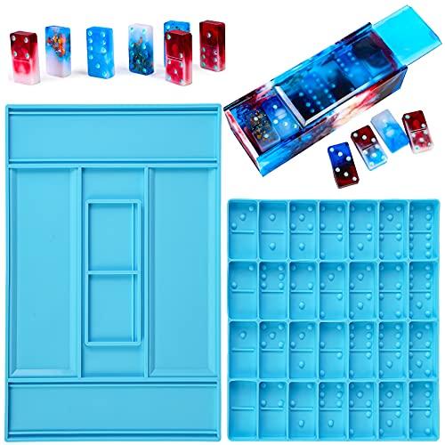 Cysincos Juego de moldes de resina de resina para dominó con caja de almacenamiento de resina epoxi, juego de formas para piezas de dominó